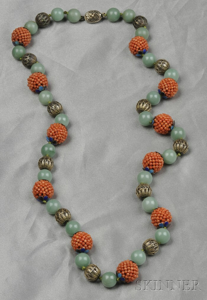 Coral and Aventurine Bead Necklace, China