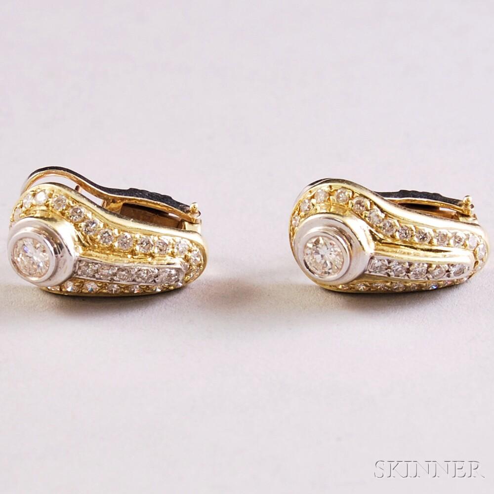 Bicolor 14kt Gold and Diamond Half-hoop Earrings