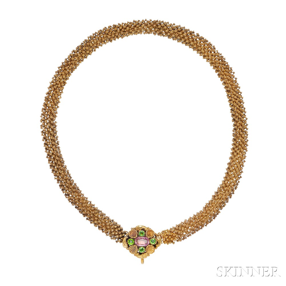 Gold, Tourmaline, and Paste Necklace