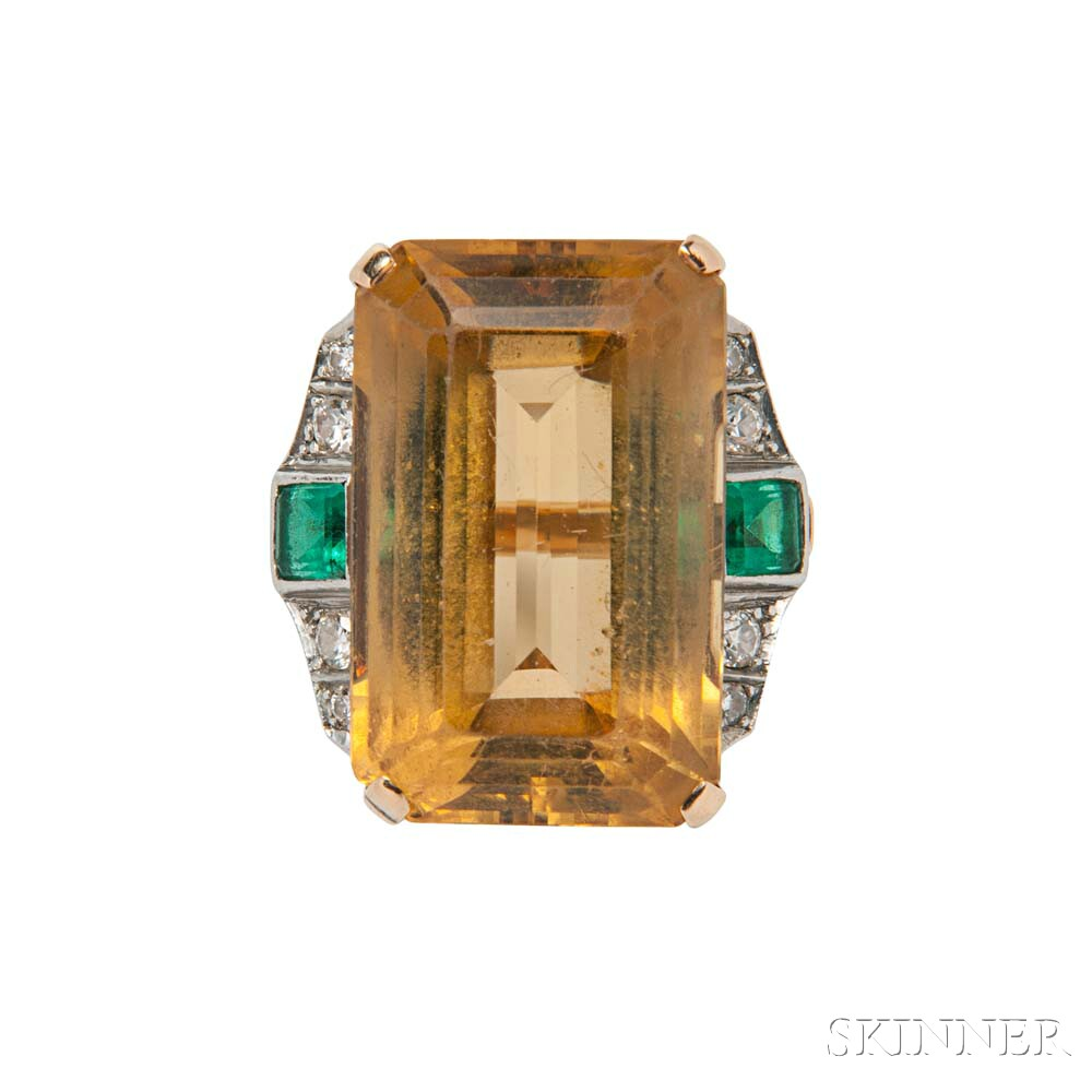Retro 14kt Gold and Citrine Ring