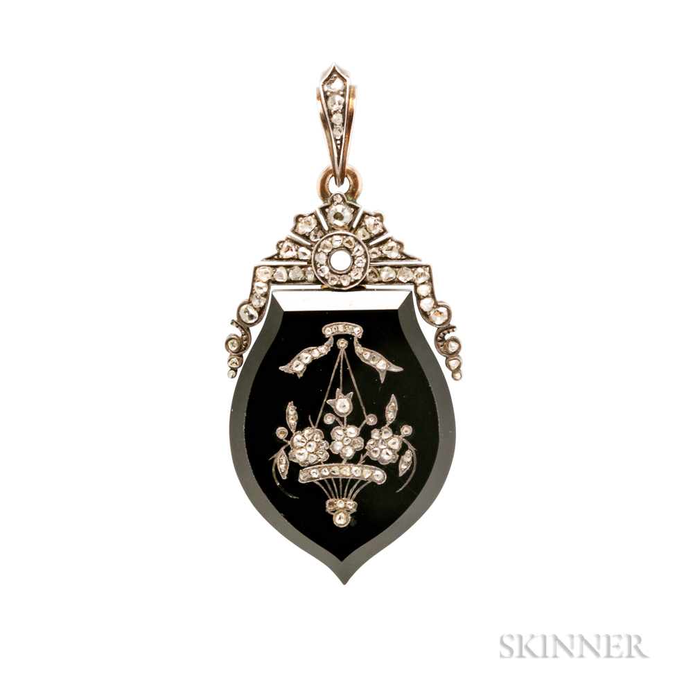 Victorian Onyx and Rose-cut Diamond Locket