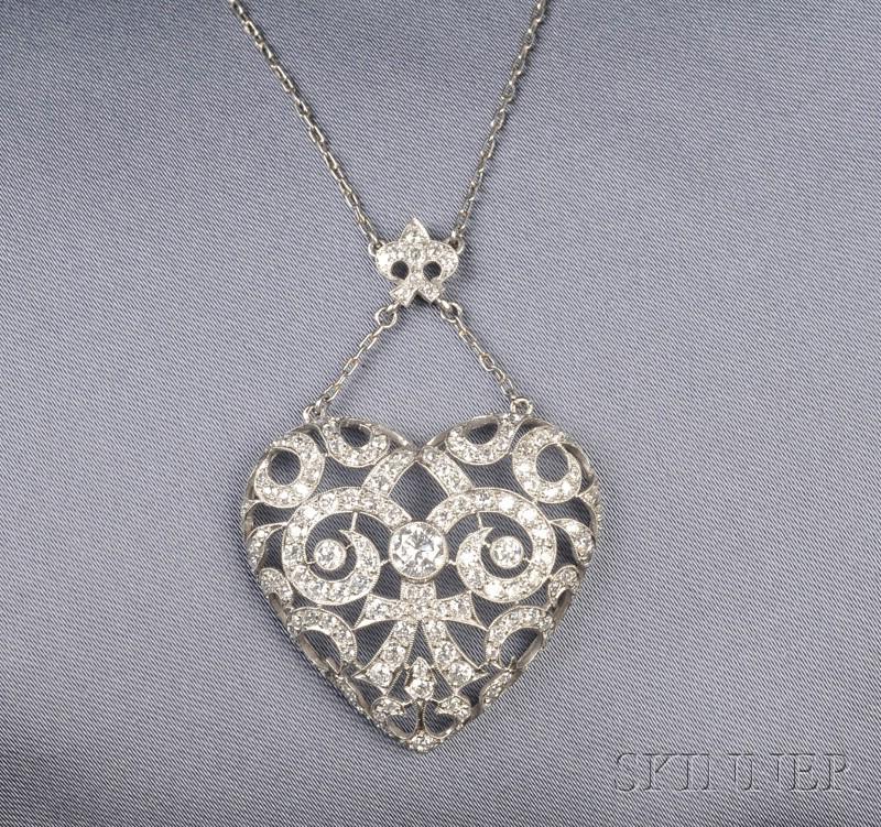 Platinum and Diamond Heart Pendant Necklace