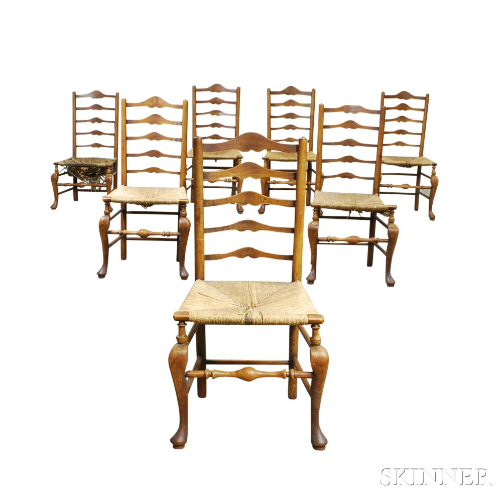 Assembled Set of Seven Country Cherry Ladder-back Chairs