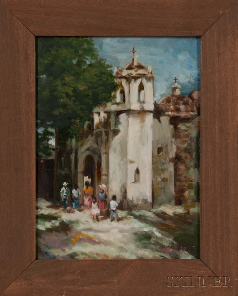 Framed Oil on Board of a Spanish-style Church