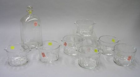 Set of Seven Irish Colorless Cut Glass Wine Rinsers and a Colorless Glass Decanter.