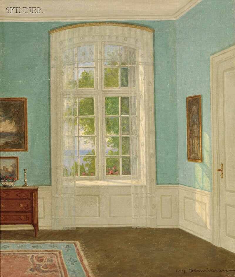 William Henriksen (Danish, 1880-1964)      A Sunlit Garden Room