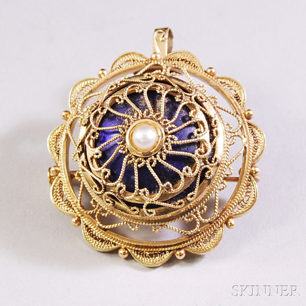 14kt Gold, Enamel, and Pearl Pendant/Brooch
