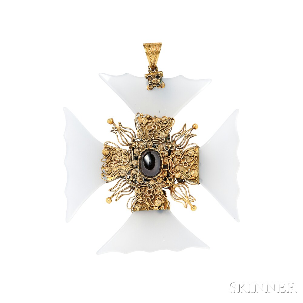 Gold chalcedony and garnet carbuncle maltese cross pendant sale gold chalcedony and garnet carbuncle maltese cross pendant aloadofball Image collections