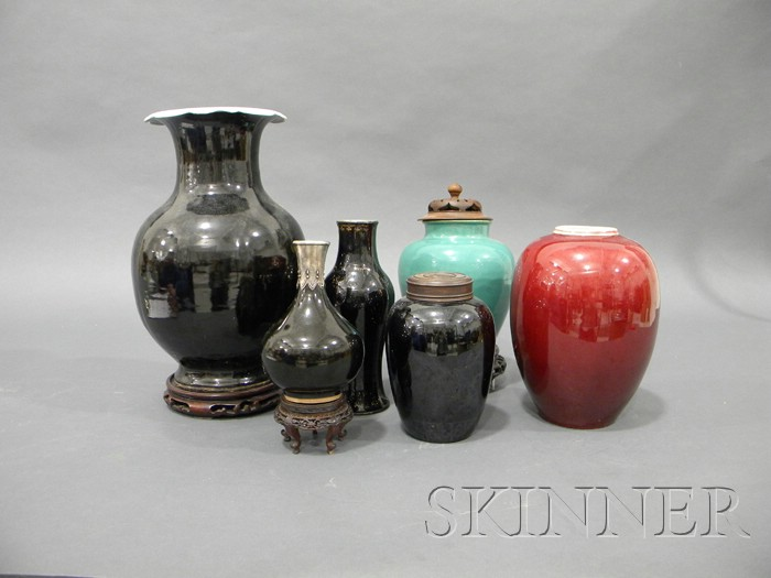 Six Monochrome Porcelain Vases