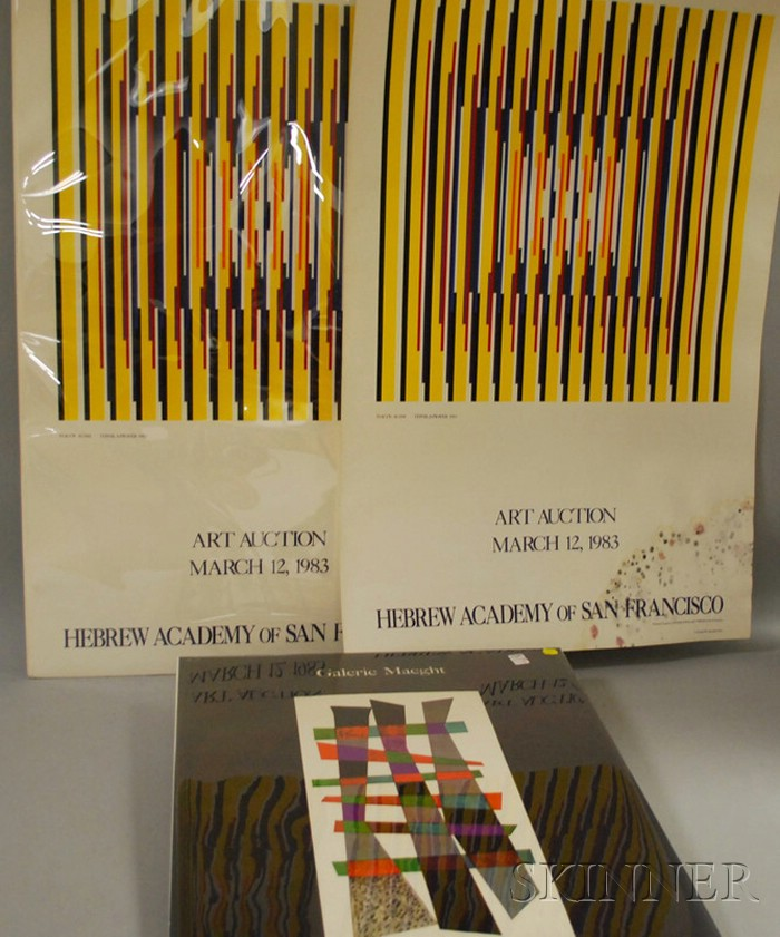 Three Unframed Exhibition Posters, Agam and Kandinsky