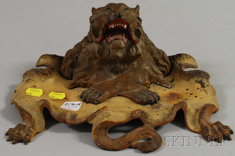 Cold Painted Cast Iron Lion Inkwell