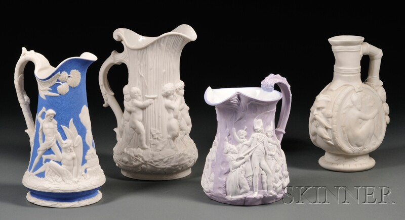 Four Molded Staffordshire Jugs