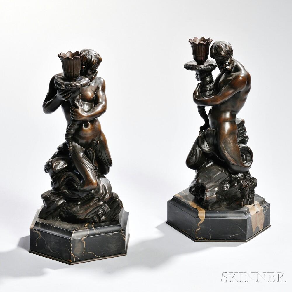 Pair of Bronze Neptune Candlesticks