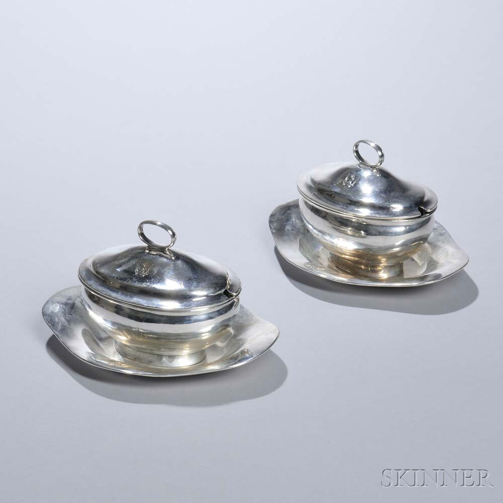 Pair of George III Sterling Silver Sauce Tureens and Undertrays