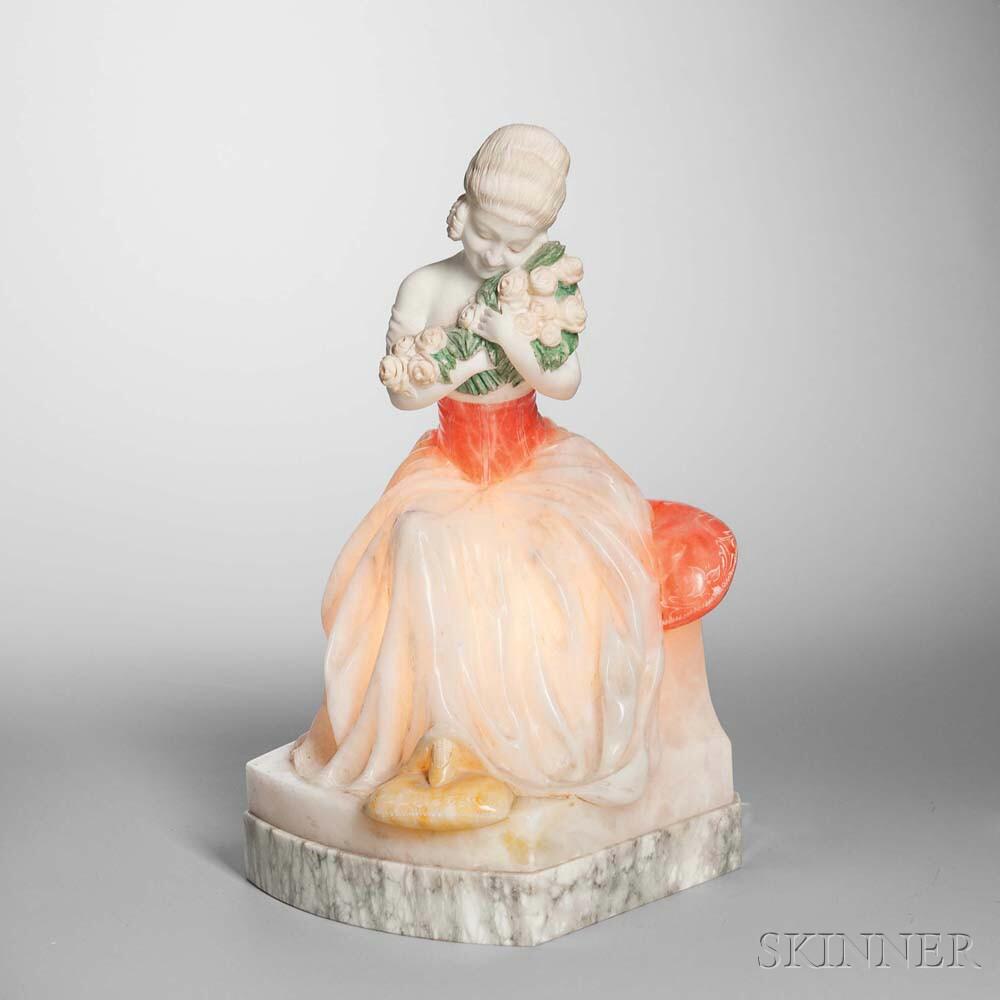 Alabaster Figural Lamp