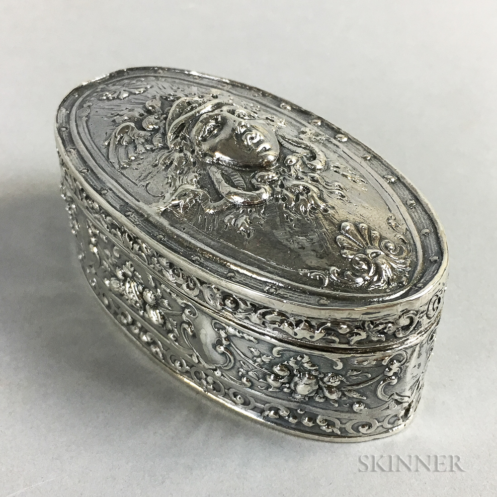 English Sterling Silver Hinged Oval Box