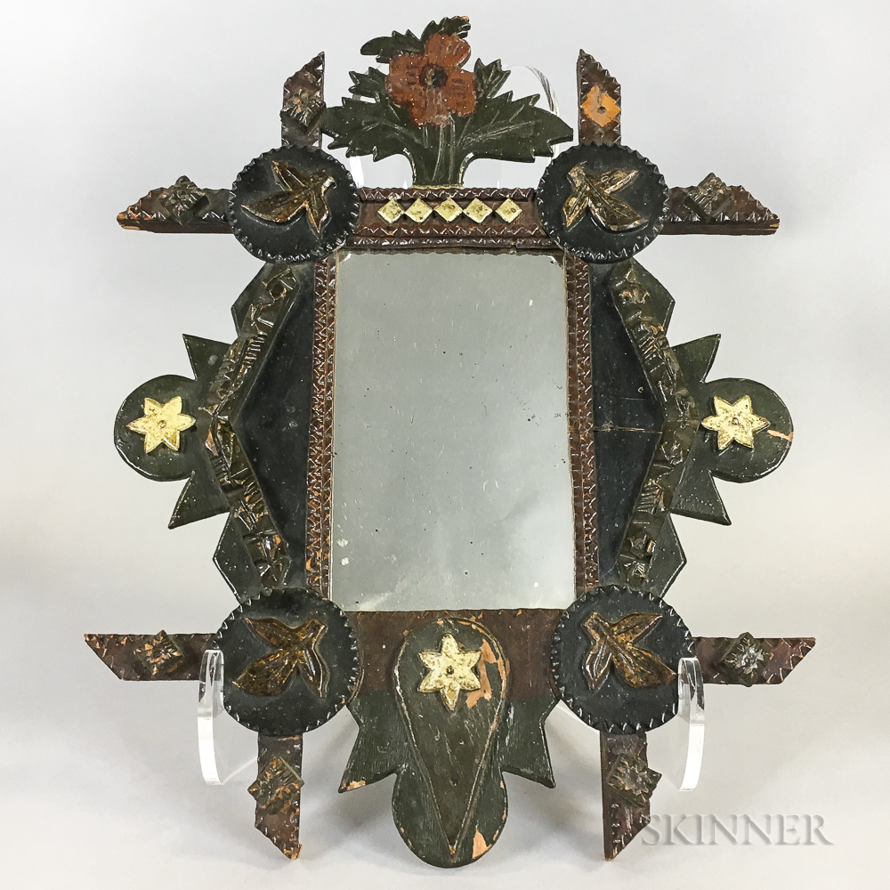 Small Carved and Painted Tramp Art Mirror
