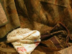 Three Victorian Tapestry Panels and an Embroidered Silk Piano Shawl.