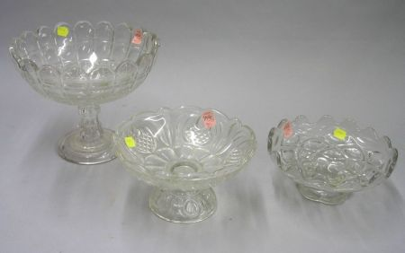 Three Colorless Pressed Pattern Glass Compotes.