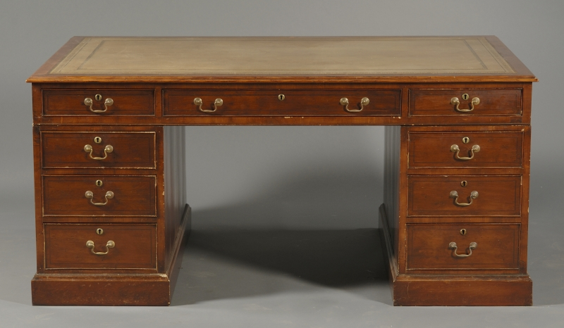 English Yew Wood Pedestal Partner's Desk