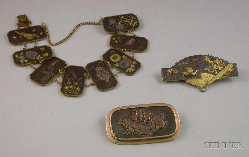 Three Pieces of Japanese Jewelry.
