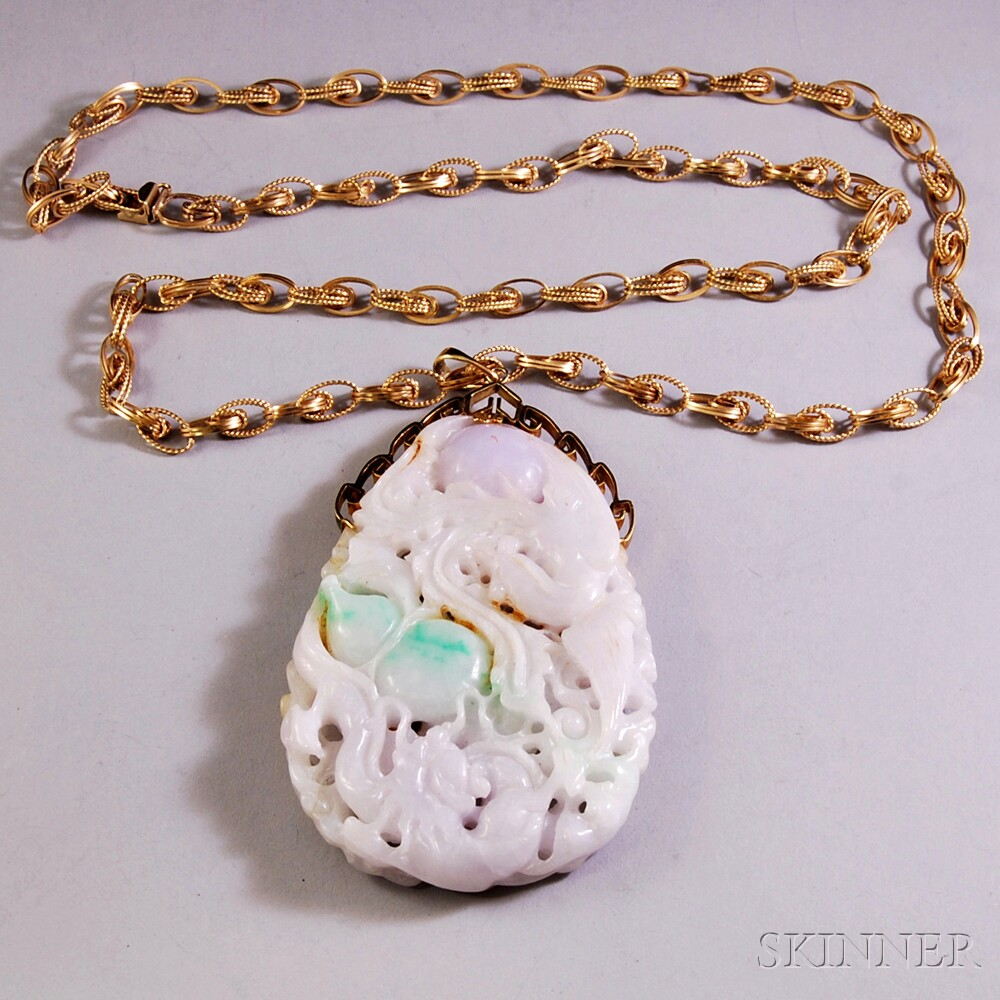 Oversized Carved and Pierced Jade Pendant on 14kt Gold Necklace