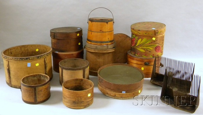 Fourteen Assorted Country Wooden and Metal Domestic and Decorative Items