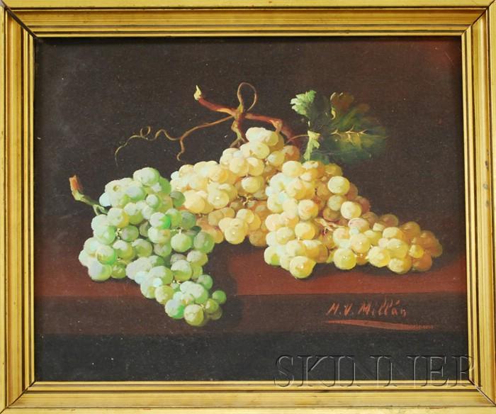Manuel Ventura Millán (Spanish, 1923-1984)      Lot of Two Framed Still Lifes: Green Grapes