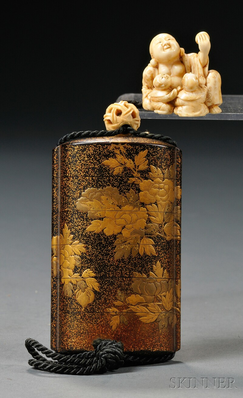 Gilt-lacquer Inro with Netsuke