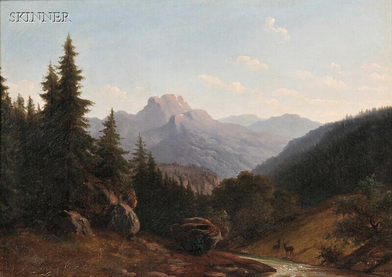 Walther Wünnenberg (German, 1818-c. 1900)      Mountain Landscape with Hunter Stalking Deer