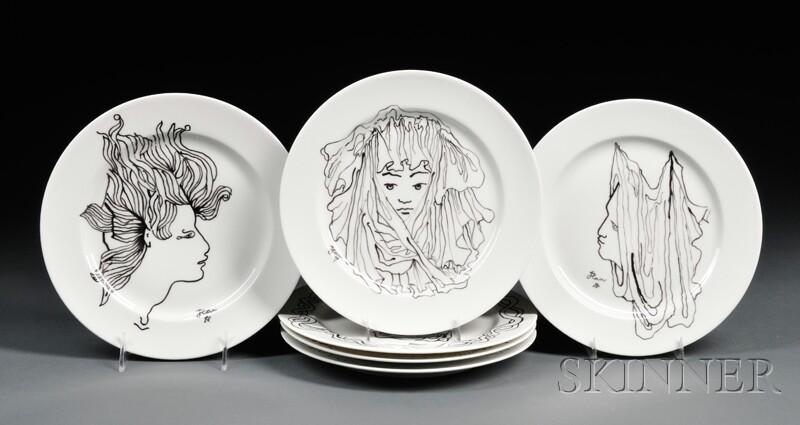Set of Six Jean Cocteau for Christofle Plates
