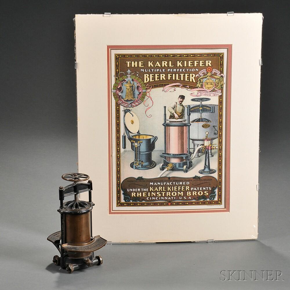 "Salesman's Sample ""Karl Kiefer Beer Filter"" and Advertising Chromolithograph"