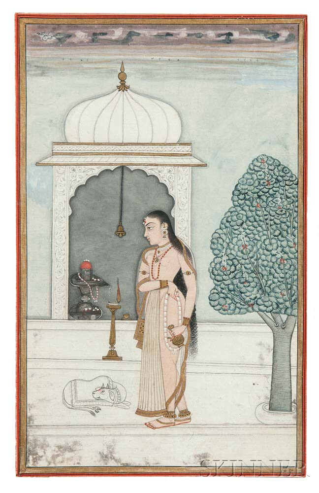 Mughal Miniature Painting Depicting a Lady