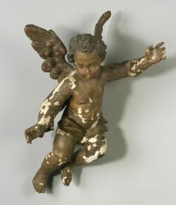 Continental Carved and Painted Wood Gesso Putto Figure