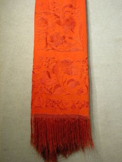 Chinese Embroidered Red Silk Shawl.
