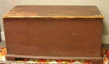 Red Painted Pine Dovetail-constructed Blanket Chest.