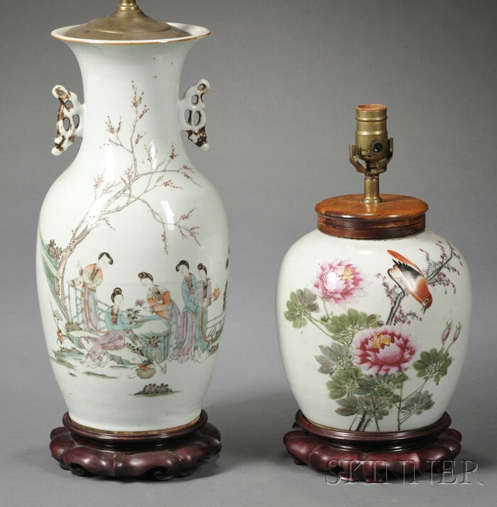 Two Chinese Export Porcelain Lamp Bases