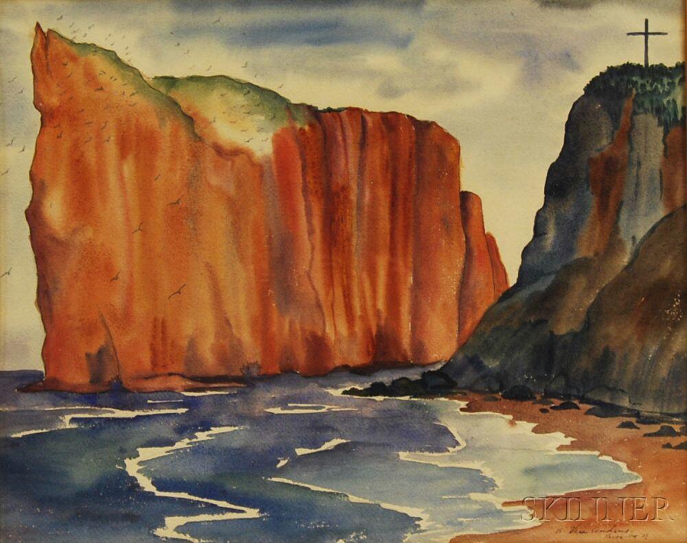 Vera Eugenia Andrus (American, 1896-1979)      Cliffs at Perce Beach, Gaspe Peninsula, Quebec