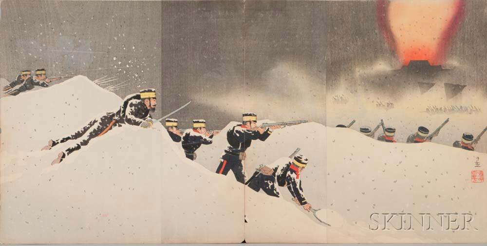 Ten Senso-e   Triptych Woodblock Prints