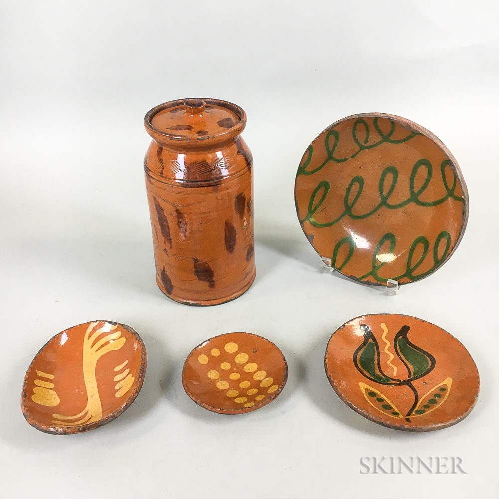 Four Shooner Slip-decorated Redware Dishes and a Sgrafitto-decorated Jar