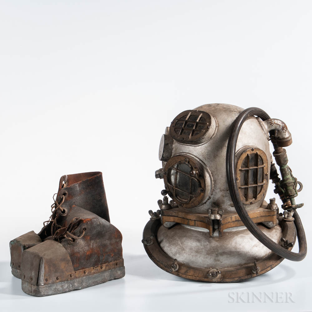 Deep Sea Diving Helmet and Boots