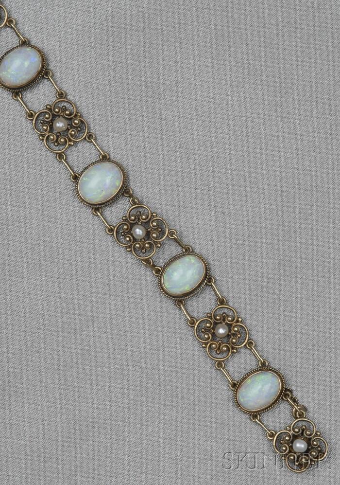 Art Nouveau 14kt Gold, Opal, and Seed Pearl Bracelet