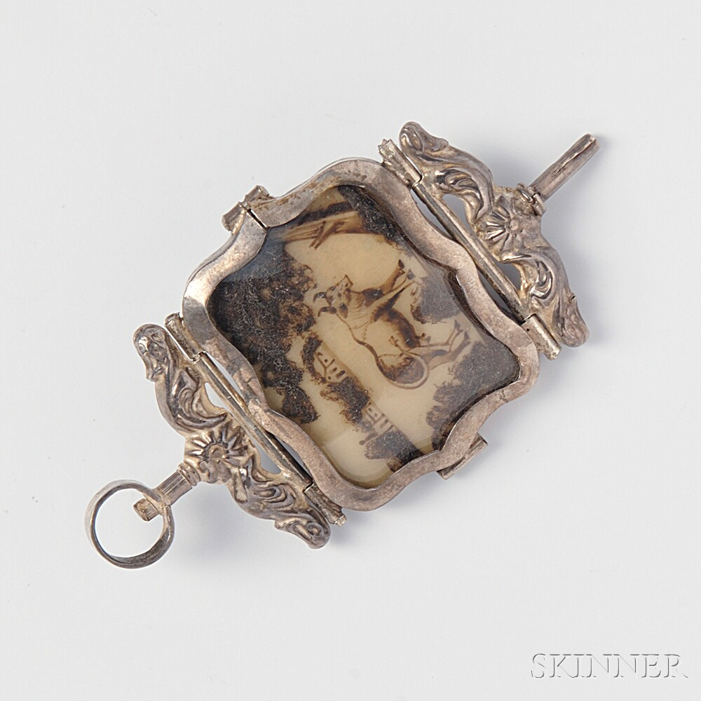 Antique Silver and Hairwork Watch Key