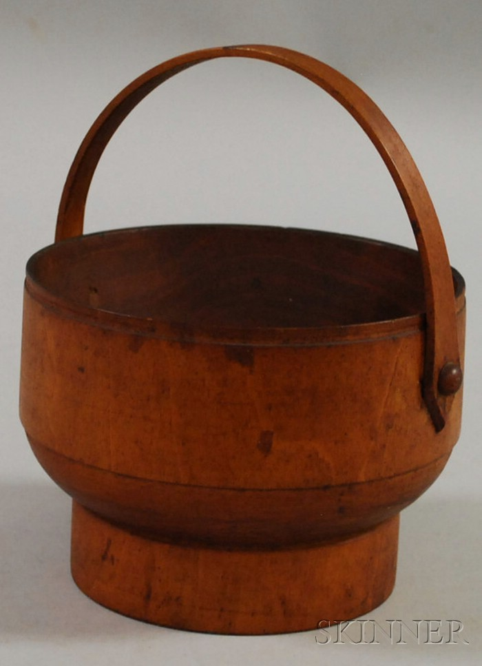 Small Turned Cherry Carrier with Swing Handle