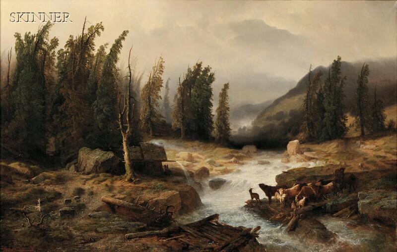 Richard Zimmermann (German, 1820-1875)      The Old Bridge/A Mountain Torrent Scene with Livestock