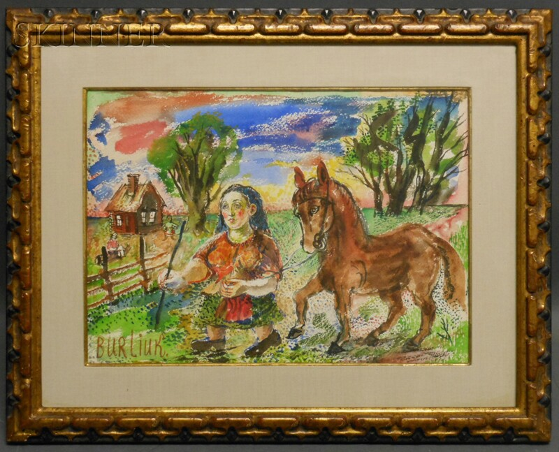 David Davidovich Burliuk (Ukrainian/American, 1882-1967)      Woman with Horse
