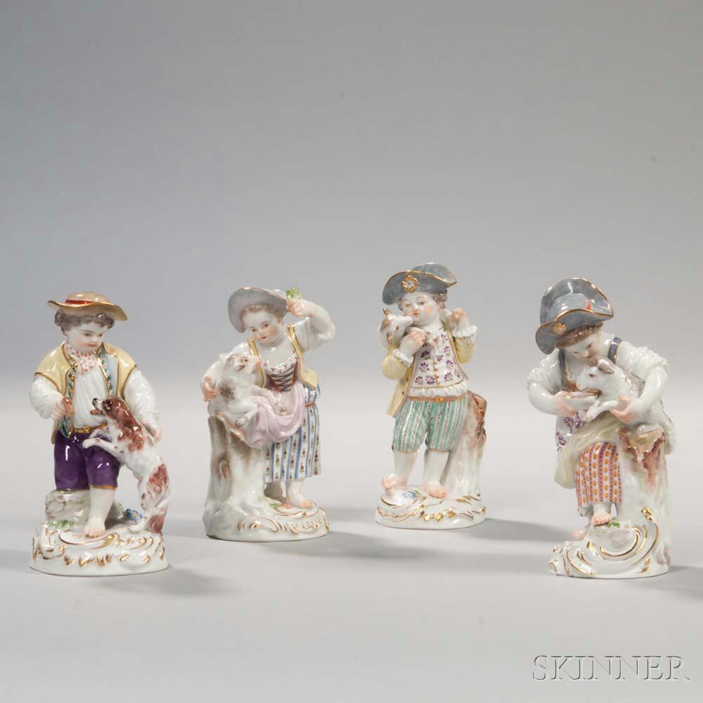 Four Meissen Porcelain Figures of Children
