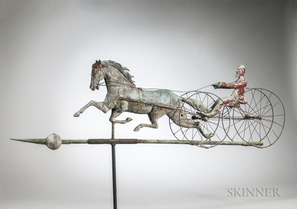 Rare Large Double Wheel Horse & Sulky Weathervane