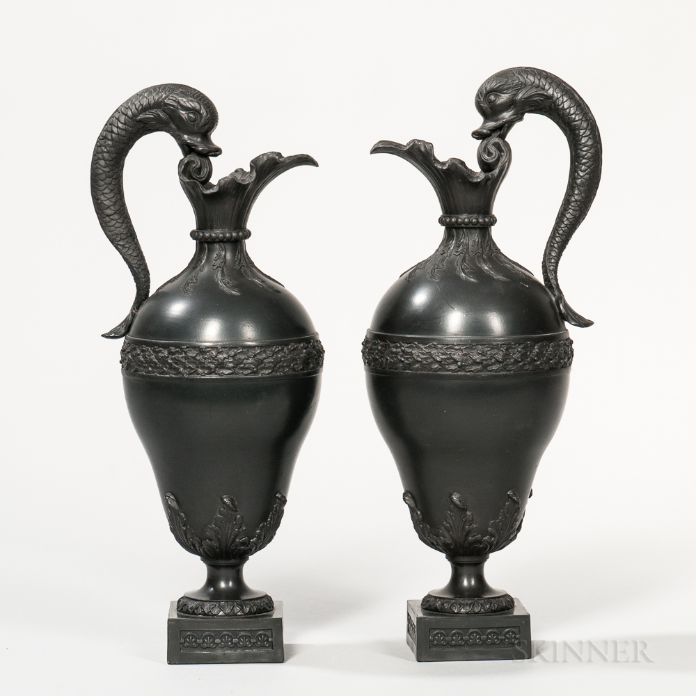 Pair of Marked Wedgwood & Bentley Black Basalt Fish-handled Ewers