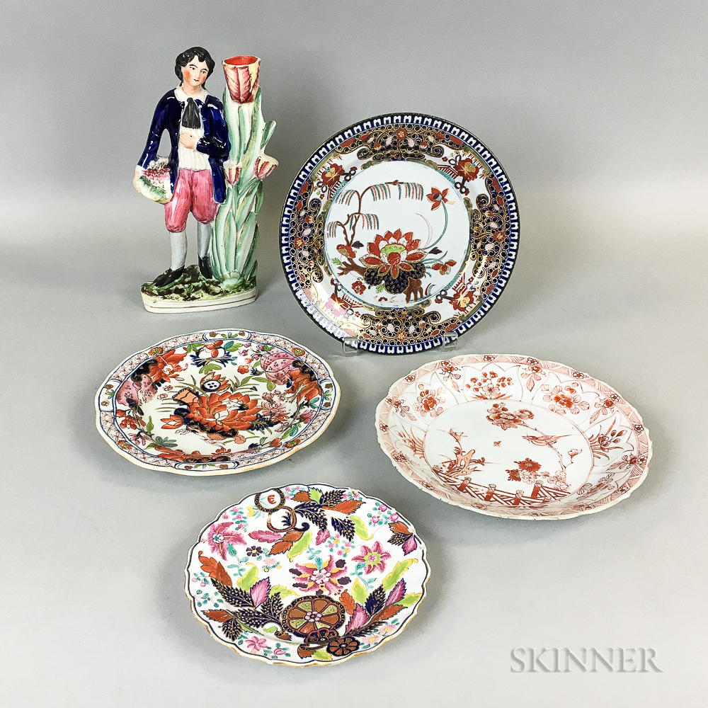 Three English Ceramic Plates, a Chinese Export Porcelain Plate, and a Staffordshire Cottage Figure.     Estimate $100-150